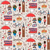 Seamless pattern with London symbols.