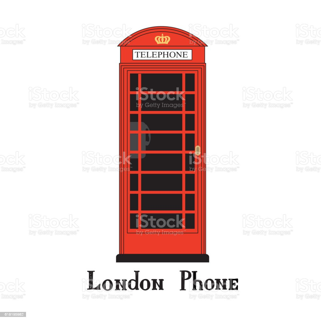 London phone booth isolated on white with  handwritten lettering vector art illustration
