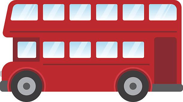london red bus vektor-illustration isoliert auf weißem hintergrund - tour bus stock-grafiken, -clipart, -cartoons und -symbole