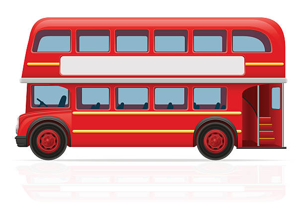 red bus vektor-illustration von london - tour bus stock-grafiken, -clipart, -cartoons und -symbole