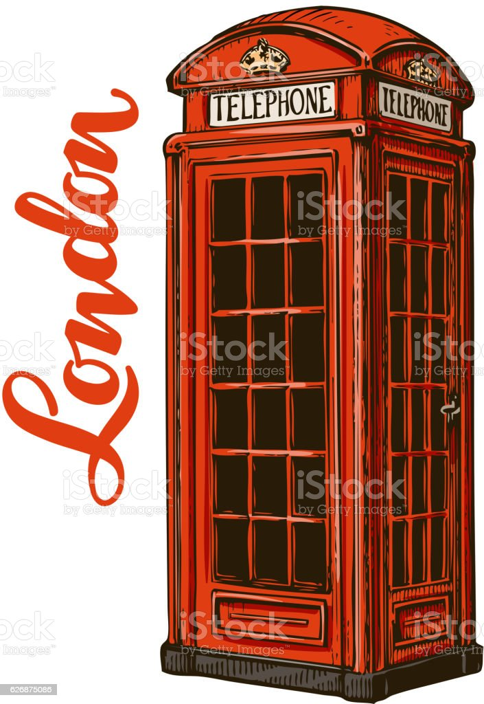 London red phone booth. Vector illustration isolated on white background vector art illustration