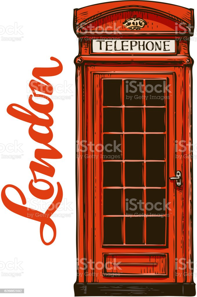 London, red phone booth. Vector illustration vector art illustration