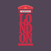London red telephone booth poster design. Vector illustration.