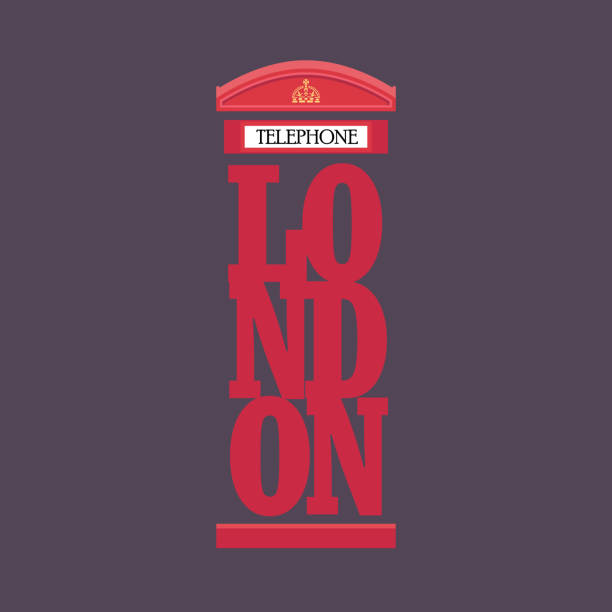 London red telephone booth poster design vector art illustration
