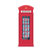 London red telephone booth. Vector illustration.