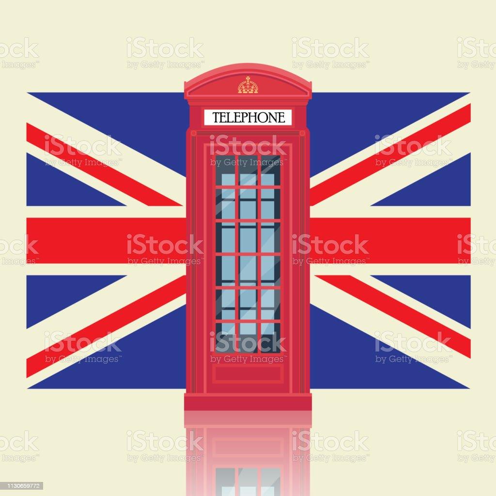 Cabine de telefone vermelho de Londres com fundo de bandeira do Reino Unido - ilustração de arte em vetor