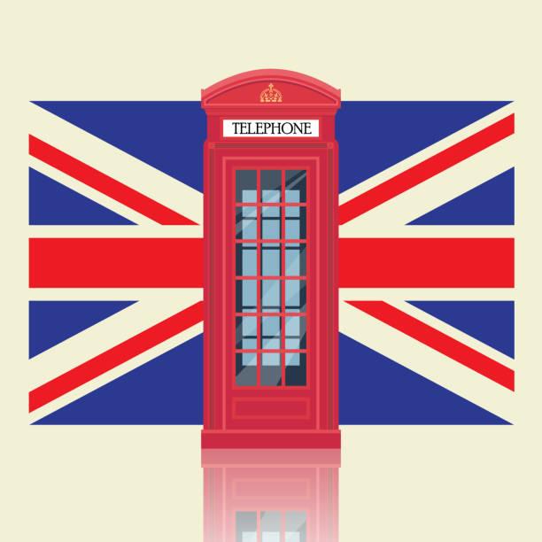 ilustrações, clipart, desenhos animados e ícones de cabine de telefone vermelho de londres com fundo de bandeira do reino unido - bandeira union jack