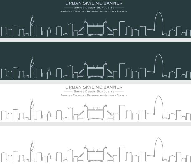 ilustrações de stock, clip art, desenhos animados e ícones de london single line skyline banner - londres
