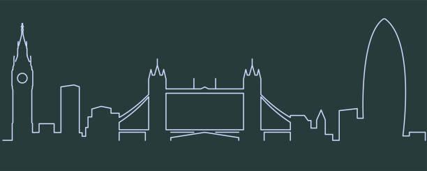 ilustrações de stock, clip art, desenhos animados e ícones de london single line skyline - londres