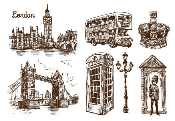ilustrações, clipart, desenhos animados e ícones de o desenho de ilustração de londres - moda londrina