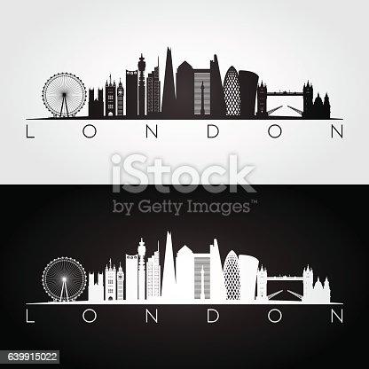 London skyline and landmarks silhouette. Vector illustration.