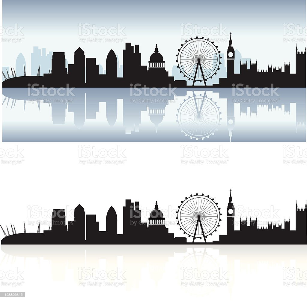 london skyline and reflection vector art illustration