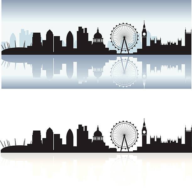 London Skyline And Reflection Vector Art Illustration