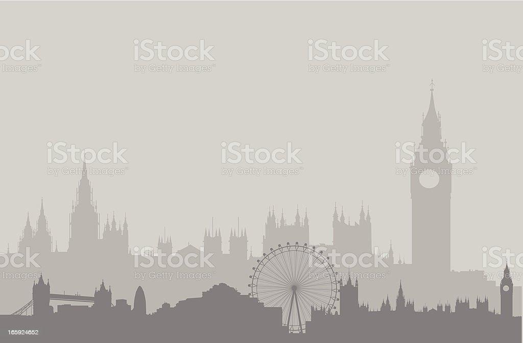 London Skyline in Gray vector art illustration