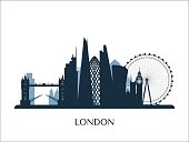 London skyline monochrome silhouette. Vector illustration.