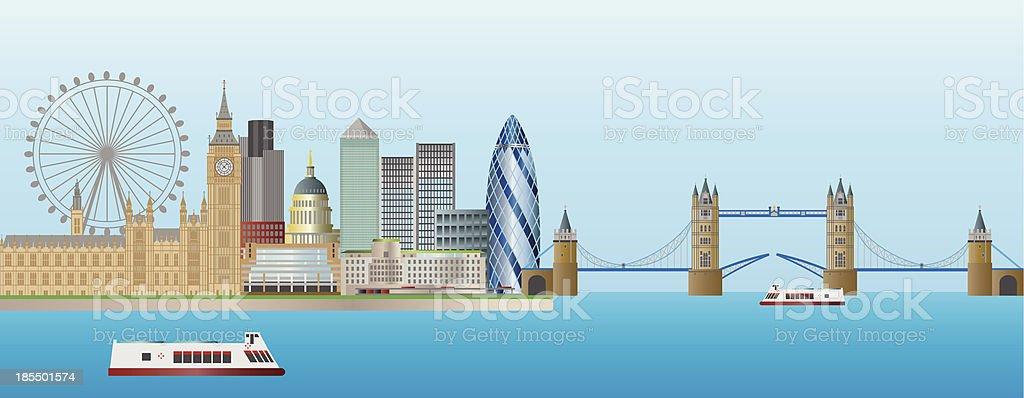 London Skyline Panorama Vector Illustration vector art illustration