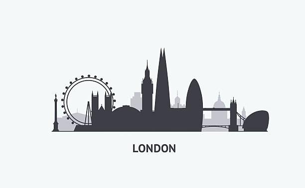 ilustrações de stock, clip art, desenhos animados e ícones de silhueta de skyline de londres - londres