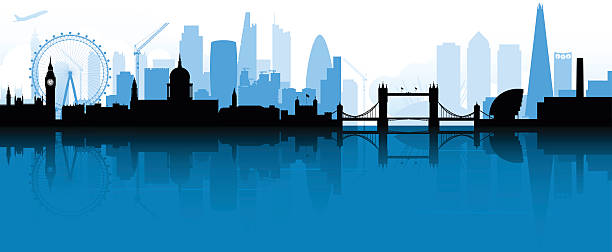 London Skyline Silhouette City of London silhouette background reflected in the Thames. Includes the most recent skyscrapers and landmarks, such as the shard and city hall. london stock illustrations