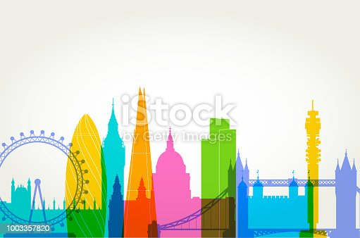Colourful overlapping silhouettes of famous London Buildings