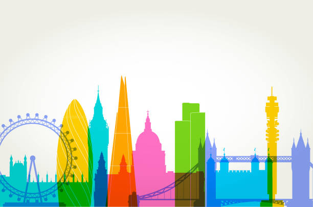 London Skyline Colourful overlapping silhouettes of famous London Buildings international landmark stock illustrations