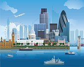 Detailed vector illustration of London's skyline. Download includes EPS file and hi-res jpeg.