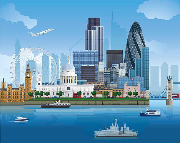 London Skyline Detailed vector illustration of London's skyline. Download includes EPS file and hi-res jpeg. london stock illustrations