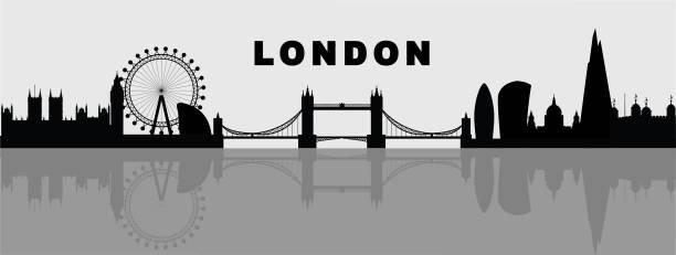 ilustraciones, imágenes clip art, dibujos animados e iconos de stock de ilustración de vector de skyline de londres - london