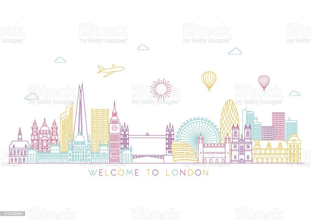 ロンドンの街並みを一望できますベクトルラインイラストラインスタイル