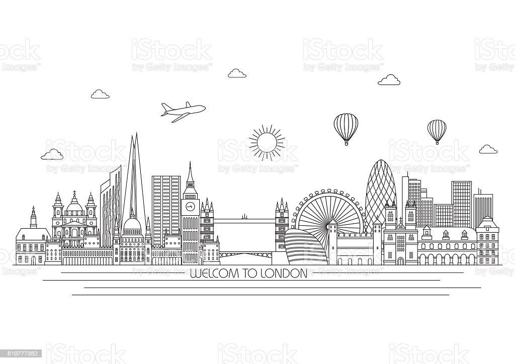 Line Drawing London : London skyline vector line illustration style design