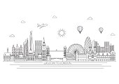 London skyline. Vector line illustration. Line style design