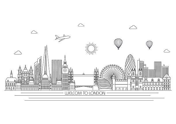 ilustrações de stock, clip art, desenhos animados e ícones de horizonte de londres. vector ilustração de linha. estilo de linha - londres