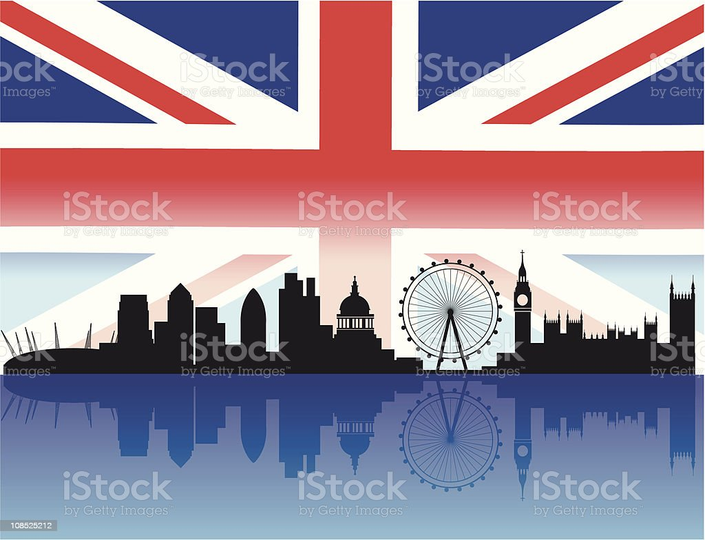London skyline with flag background vector art illustration