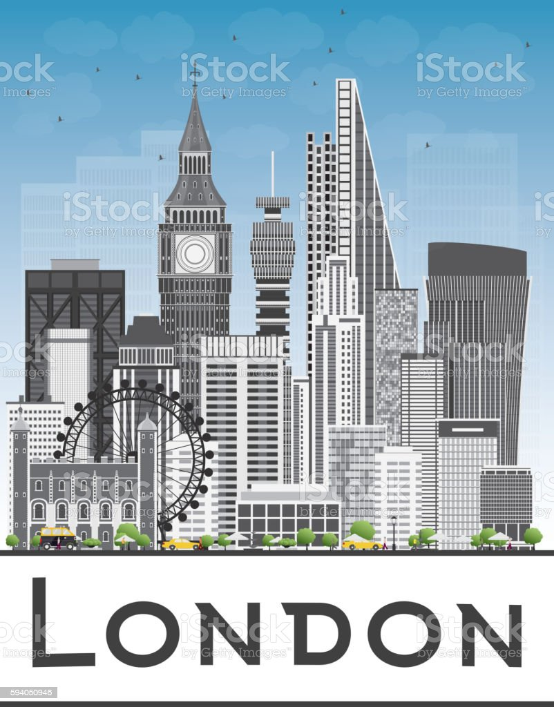 London Skyline with Gray Buildings and Blue Sky. Vector Illustration....