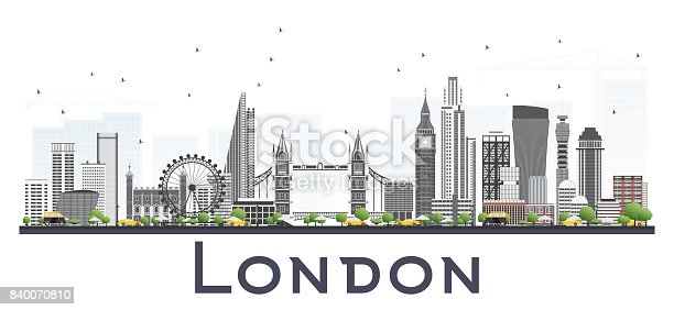 London Skyline with Gray Buildings Isolated on White Background.