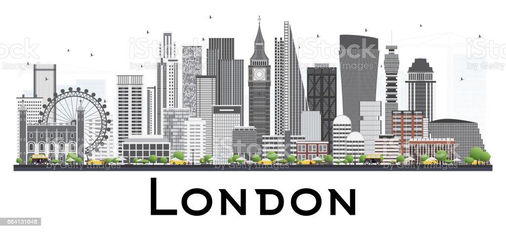 London Skyline with Gray Buildings. london skyline with gray buildings - immagini vettoriali stock e altre immagini di affari royalty-free
