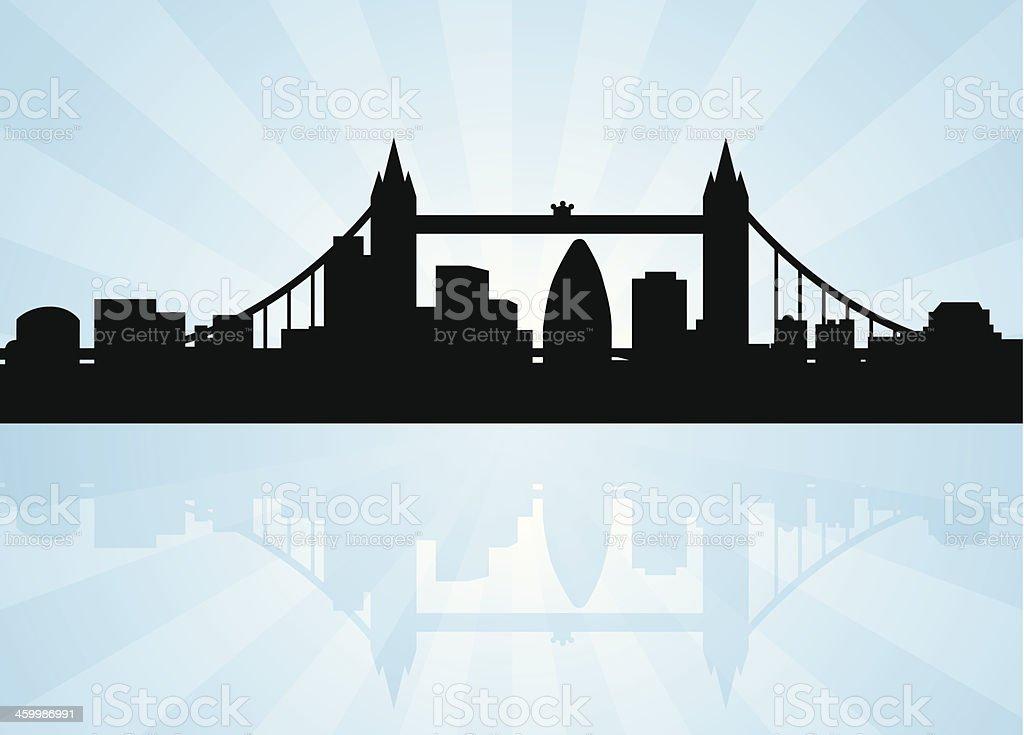 London Skyline with Tower Bridge vector art illustration