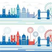 Stylized London cityscapes.
