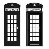 London Phone Booth, cabin icon, English telephone Street box. Symbol of the UK. Vector