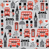 vector pattern for kids with London street and english symbols