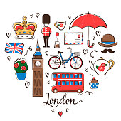 London symbols placed in a heart shape on a white background.