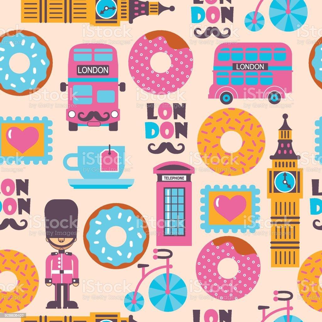 London tea time childish cartoon vector pattern with donuts vector art illustration