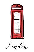 London telephone - hand drawn symbol logo design. Vector graphics.