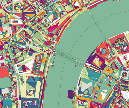 ilustration of London city structure.near Waterloo Bridge and London Eye.Map data from© OpenStreetMap contributors.