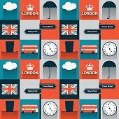 London symbols tiled seamless vector patern. Flat style.