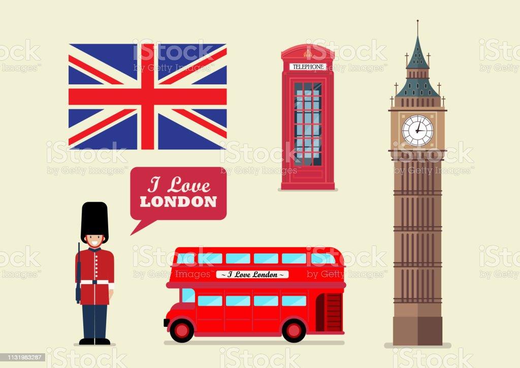 London tourist landmark national symbols vector art illustration
