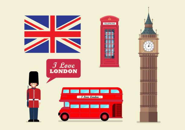 stockillustraties, clipart, cartoons en iconen met londen toeristische landmark nationale symbolen - britse cultuur