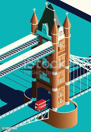 London Tower Bridge and double decker bus
