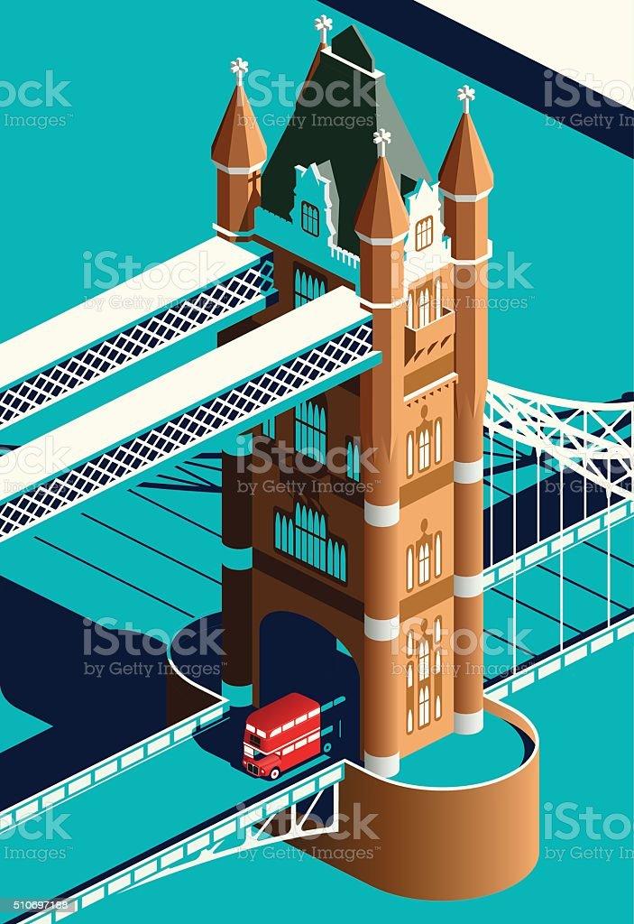 London Tower Bridge and double decker bus vector art illustration