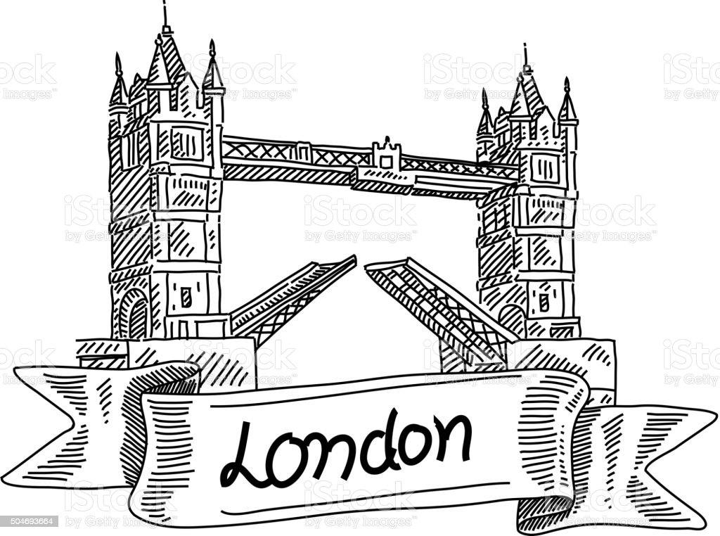 London Tower Bridge, Drawing vector art illustration