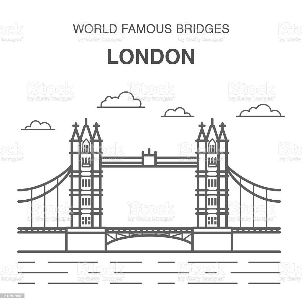London Tower Bridge Illustration vector art illustration